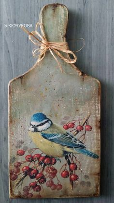 Tole Painting, Fabric Painting, Painting On Wood, Creative Arts And Crafts, Diy And Crafts, Paper Crafts, Wood Block Crafts, Decoupage Box, Wine Bottle Crafts