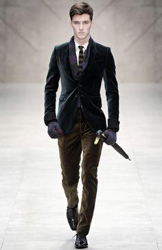 Navy Velvet Blazer, Brown Velvet Pants, and Knit Stripe Tie, Men's Fall Winter Fashion.