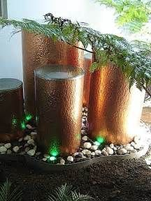 garden water feature utilising copper cylinder - Yahoo Image Search Results Water Garden, Water Features, Pillar Candles, Candle Holders, Bubbles, Copper, Nature, Wordpress, Tree Stumps
