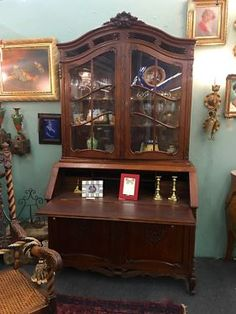"""Vintage Louis XV Style French Oak Bureau Bookcase On Sale   With Key  48"""" Wide x 32"""" Deep x 85"""" High  Was $3275 Sale Price $2400  #86142  Rick's Antiques and Home Decor  Dealer #888  For"""