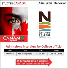 Study in Northern College in Canada. For complete information & enrolment, Register Here http://www.canamgroup.com/maileruniversity.php?name=vodnortherncollge  To know more about College in Canada, Education in Canada, Universities, Courses, Admissions, Visas, Visit your nearest CANAM branch or contact us on 1800-200-5499 #StudyinCanada #NorthernCollege #CanamConsulstants #CanamGroup