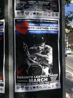 Upcoming Leather Pride parade. They were booted way down the street from last year's Pride weekend. Too risque for the tourists and kiddies who attend these days. They are having their 1st Leather Pride parade coming up. Should make for some interesting photos!