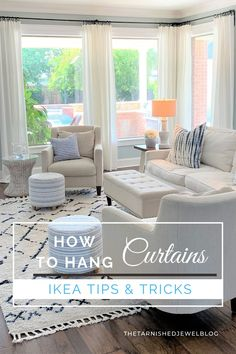 Want to whiten your RITVA curtains or need help hanging curtains with different lengths? Try How to Hang Curtains: IKEA Tips & Tricks by thetarnishedjewelblog. Add a polished look to your living room in 7 Easy Steps. #hangingcurtains #livingroomcurtains #howtohangcurtains #linencurtains #ikeacurtains #coastallivingroom #whitedecor #coastalcottage #coastalfarmhouse #coastalfarmhousestyle Pastel Living Room, Living Room Decor Eclectic, Furniture Layout, Furniture Design, Modern Furniture, Hang Curtains, Shower Curtains, Black And White Living Room, Curtain Styles