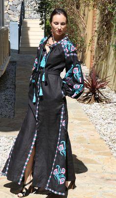 Black pink blue Vyshyvanka Vita Kin style Embroidered Bohemian Linen Folk Embroidery MAXI Dress Boho Vita Kin Style. Sizes - XS-XXL 035