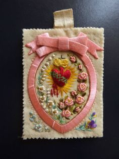 Genuine & Beautiful holy Scapular Sacred Heart Of Jesus Hand Embroidery.