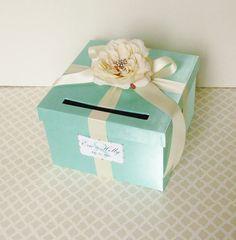 Tiffany Blue Wedding Card Box Gift Card Box Money by bwithustudio
