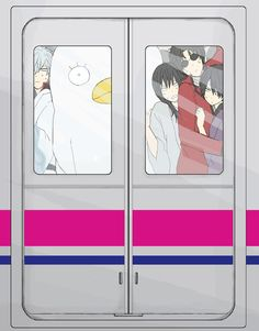 Gintama characters stuck in a train lol. | Sakata Gintoki | Elizabeth | Katsura Kotaro | Sakamoto Tatsuma | Takasugi Shinsuke