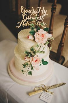 Elegant Wedding Cake with Laser Cut Cake Topper - Ali Paul Photography   Relaxed, Outdoor Wedding at Pennard House in Somerset   Rue de Seine Wedding Dress   Mis-match Blush Bridesmaid Dresses  