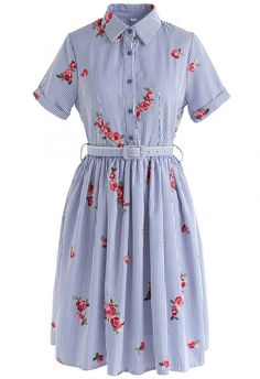 All in Bloom Floral Embroidered Stripe Dress in Blue - DRESS - Retro Indie and Unique Fashion Vintage 1950s Dresses, Vestidos Vintage, Retro Dress, Vintage Outfits, Cute Dresses, Casual Dresses, Fashion Dresses, Cute Outfits, Long Wool Skirt