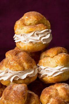 Churro Cream Puffs at Barbara Bakes and at Cooking Classy.