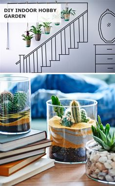 Bring the outdoors in! Click for IKEA ideas on how to make a DIY indoor hobby garden - the perfect accent for a bedroom, living room or any other space you're trying to brighten up!
