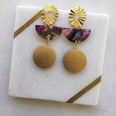 Excited to share this item from my #etsy shop: Pink Black Half Moon Resin Acetate Gold Wood Circles Stud Fashion Statement Earrings Handmade - Gold Earrings - Resin - Acetate Statement Earrings, Gold Earrings, Wood Circles, Gold Wood, Earrings Handmade, Gold Stud Earrings, Gold Pendants