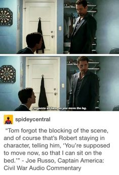Captain America Civil War Commentary - That's because when anyone gets put in the same room as Robert Downey Jr., that person will forget what they are doing. << lol I never knew that, I assumed it was part of the script! Marvel Dc Comics, Marvel Avengers, Wanda Marvel, Avengers Memes, Marvel Heroes, Ms Marvel, Captain Marvel, Funny Marvel Memes, Dc Memes