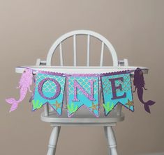Mermaid Birthday High Chair Banner First Birthday Banner for | Etsy