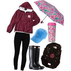 Rainy school day by loganjxoxo on Polyvore featuring LnA, Hunter, Lilly Pulitzer and The North Face