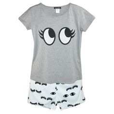 These novelty pajamas feature a scoop neck heather grey tee and velvety soft eyelash print shorts. The shorts feature a brushed back elastic waistband for comfort without binding or pinching. The lightweight shorts have a velvety soft feel.