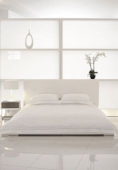 Wonderful White Interior Theme For Minimalist Look : Wonderful White Interior Theme With White Bed Matresses And Glass Cover And Wooden Side...