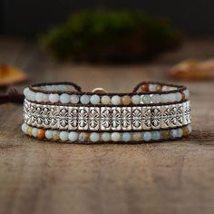 Tibetan Amazonite Bracelet Bracelets Wrap En Cuir, Beaded Wrap Bracelets, Bohemian Bracelets, Bohemian Jewelry, Bracelets For Men, Bohemian Beach, Corps Éthérique, Beaded Leather Wraps, Spiritual Jewelry