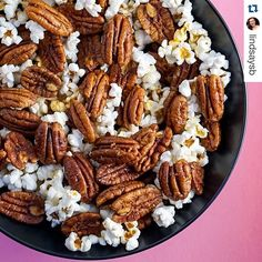 The only person who might make betters snacks than us is @lindsaysb. Healthier version of candied pecans to bring to your holiday party! Clementine-Chipotle Candied Pecans and Chili Lab #Pipcorn Party Mix