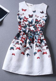 White Butterfly Print Cute Round Neck Polyester Mini Dress - Dresses