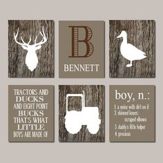 Deer Nursery, Boy Nursery Decor, Deer Wall Art Tractor Duck Rustic Nursery Country Nursery Set of 6 Prints Or Canvas Camo Big Boy Bedroom Rustic Nursery Decor, Baby Boy Nursery Decor, Boys Bedroom Decor, Baby Boy Nurseries, Baby Decor, Nursery Prints, Baby Bedroom, Nursery Ideas, Bedroom Rustic