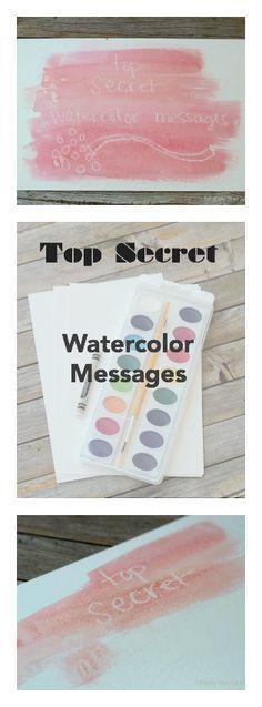 15 minute Secret Watercolor Messages | Mabey She Made It | #kidscrafts #watercolor #watercolorresist