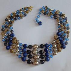 VINTAGE MIRIAM HASKELL GILT FILIGREE BLUE ART GLASS BAROQUE PEARL BEAD NECKLACE #MiriamHaskell #StrandString