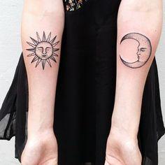 Lune et soleil | 50 magnifiques tatouages pointillistes