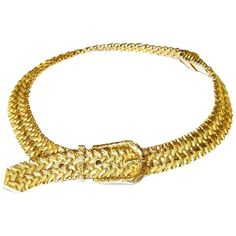 Pre-owned Vintage Hermes 1930's Woven 18k Yellow Gold Buckle Collar... ($12,900) ❤ liked on Polyvore featuring jewelry, necklaces, accessories, gold, 18 karat gold necklace, collar choker, woven necklace, 18k necklace and gold choker necklace