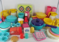 Fisher Price Little Tikes Play Dishes 97 pcs Pots Pans Plates Silverware