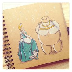 Some adorable art from DeeeSkye on Deviant Art of Baymax with some of the Disney princesses. Cinderella. [For more Disney tips, secrets, pics, etc., please visit my blog: http://grown-up-disney-kid.tumblr.com/ ]