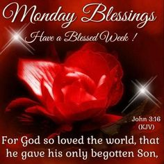 Monday Blessings. John 3:16.. Have a Blessed Week.