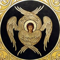 A seraph angel icon / highest rank in the Christian angelic hierarchy Order Of Angels, Angels Among Us, Angels And Demons, Byzantine Art, Byzantine Icons, Angel Hierarchy, Seraph Angel, Cherub Tattoo, Seraphin