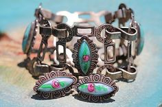 Vintage Mexican Sterling Silver Art Glass Link Bracelet Screw Earrings Set | eBay