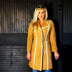 60s BegedOr Buff Beige PIGSKIN Suede TRENCH by RenegadeRevival, $269.99