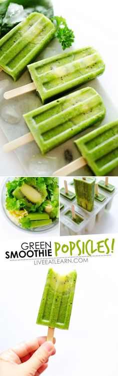 This healthy Green Smoothie Popsicles recipe, with ginger, fruit, and spinach, is a fun and refreshing treat idea for summer. They're a vegan healthy snack your whole family will love. // Live Eat Learn