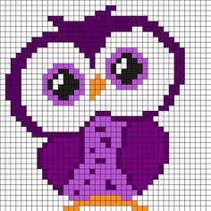 Purple Owl Perler Bead Pattern More Mehr Cross Stitch Owl, Cross Stitch Charts, Cross Stitch Designs, Cross Stitch Embroidery, Cross Stitch Patterns, Cross Stitches, Knitting Stitches, Pony Bead Patterns, Kandi Patterns