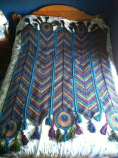Crochet Peacock Afghan