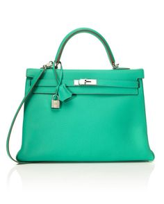 VINTAGE HERMÈS'35cm Menthe Clemence Leather Bag' - the things i would do for this bag are shameful.