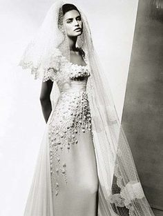 Beautifully embroidered Valentino wedding dress, lots of detail with a simple and flattering cut.