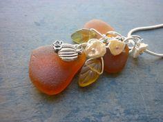 autumn pumpkin beach seaglass pendant