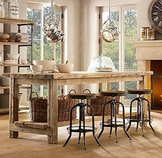 Salvaged Wood Kitchen Island Collection via Restoration Hardware Homemade Kitchen Island, Diy Kitchen, Kitchen Dining, Kitchen Decor, Wooden Kitchen, Kitchen Ideas, Reclaimed Kitchen, Kitchen Tables, Kitchen Stools