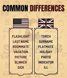 🇺🇸vs🇬🇧 Holiday Pictures, Surnames, Motivation, Learn English, Picture Photo, Sick, Vacation, Learning, Idioms