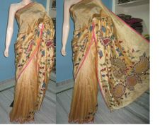 Beautiful hand painted Kalamkari patch work in rich pallu and all over saree comes with samll kalamkari butti path,all over saree gold zari boarder. Blouse comes with sleaves part kalamkari butties.