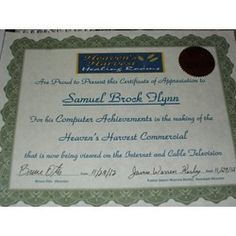 Samuel Brock Flynn was Award and recognized for making a commercial for a church that needed help.