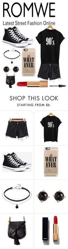 """""""RomWe 90's Style"""" by pinkstars6 ❤ liked on Polyvore featuring Converse, Casetify, Irene Neuwirth, Chloé, Chanel, Lancôme, black, converse and onlymekara"""