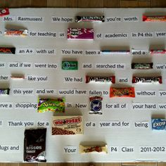 End of year teacher gift, candy bar sayings
