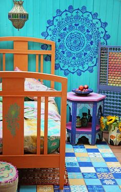 Janice Issitt's Moroccan-inspired, bohemian bedroom sings with colour – and has all been achieved with my Chalk Paint® palette.