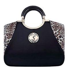 Serenade Golden Leopard Black Patent Leather Classic Handbag. SH52-7380. 9475ed9e612e6