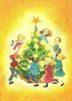Kinderen om kerstboom, Ilon Wikland New Year Illustration, Christmas Illustration, White Christmas, Christmas Time, Xmas, Chrismas Cards, Winter Images, Retro Images, Fairy Tales